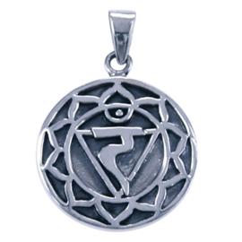 Zilveren bedel chakra navel