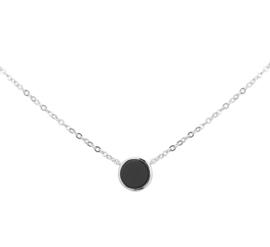 Zilveren ketting dames met zwarte onyx hanger 42 - 45 cm