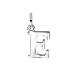 Zilver hanger letter E gerhodineerd
