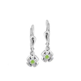 Zilveren oorhangers bloem groene steen