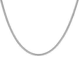 Zilveren ketting vossestaart geoxideerd 50-60cm x 2mm