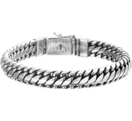 Zilveren armband geoxideerd grof 19-22cm x 10 mm