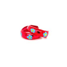 Zilveren oorringen rood creolen 15 mm