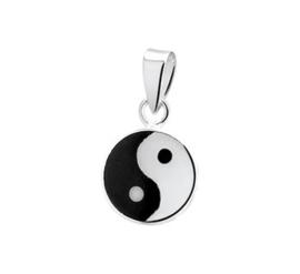 Zilveren bedel Yin Yang  zwart-wit onyx