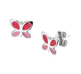 Zilveren oorbellen vlinders roze