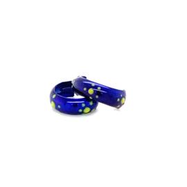 Zilveren oorringen paarsblauw 11 mm