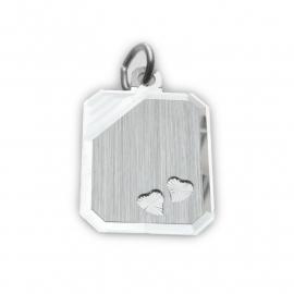Zilveren graveerplaatje hartjes 14 x 18 mm
