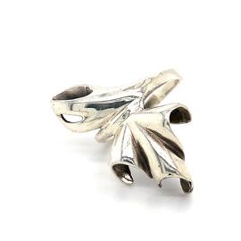 Zilveren ring blad fantasie mt 17 - 17,75 x 30 mm