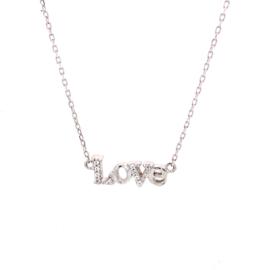 Zilveren ketting geschreven Love 42 - 46 cm