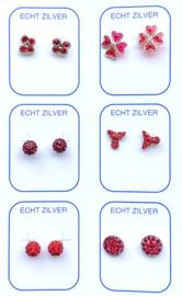 Zilveren oorknopjes unieke set rood