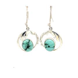 Zilveren oorhangers turquoise