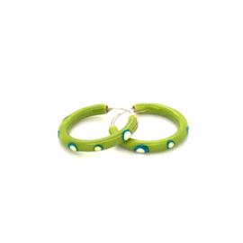 Zilveren groene oorringen  17 mm