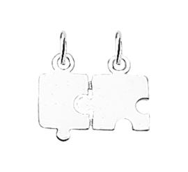 Zilver graveerplaatje puzzelstukjes 14 x 10,5 mm