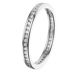 Zilveren ring  zirkonia maat 16 - 19