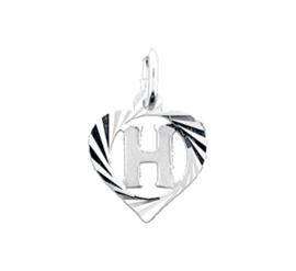 Zilveren bedel hartje met de letter H