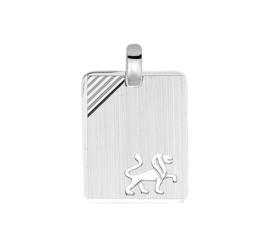 Zilveren graveerplaatje sterrenbeeld leeuw 14 x 19 mm