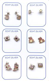 Zilveren oorknopjes variatie roze