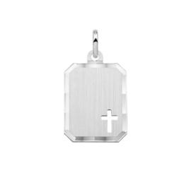 Zilveren graveerplaatje kruis 14 x 18 mm