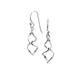 Zilveren oorhangers wokkels 34 mm