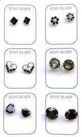 Zilveren oorknopjes variatie zwart