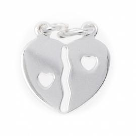 Zilver breekhartje met open hartjes 13 x 14 mm