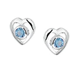 Zilveren oorbellen hartjes stekers blauw