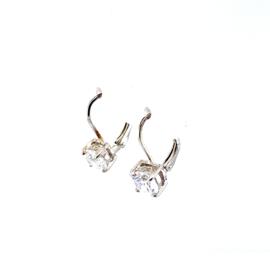 Zilveren oorhangers met zirkonia steen 6 mm