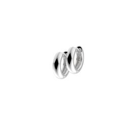 Zilveren klapoorringen halfronde buis 3 mm