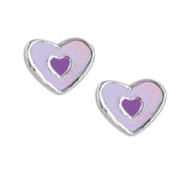 Zilveren oorbellen hartjes stekers