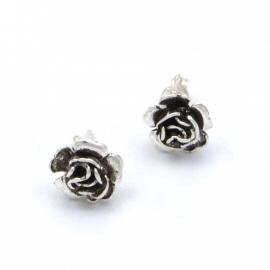 Zilveren oorsteker roosje 11 mm