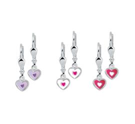 Zilveren kinderoorbellen hartje roze/wit/paars