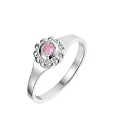 Zilveren kinderring zirkonia roze