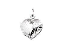Zilveren bedel medaillon hart met gravure 11,5 mm