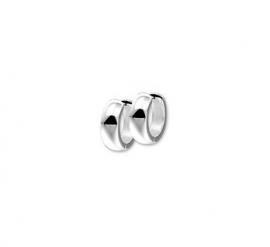 Zilveren klapcreolen bolle buis 4 mm