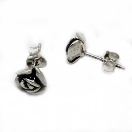 Zilveren oorsteker roosje 8mm