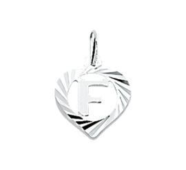 Zilveren bedel hartje met de letter F