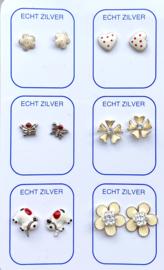 Zilveren oorknopjes unieke set wit en rood