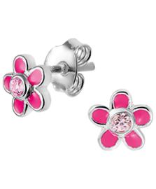 Zilveren oorknoppen roze bloem met steentje