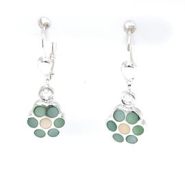 Zilveren oorhangers bloemen mint groen