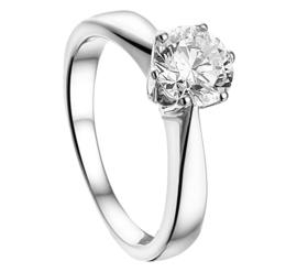 Zilveren ringen zirkonia 6,5 mm maat 15 - 21