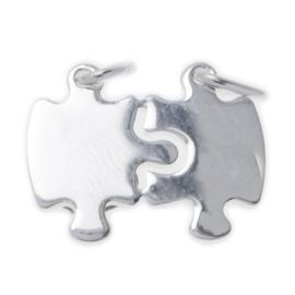 Zilver breekplaatje puzzelstukjes 25,5 x 22 mm