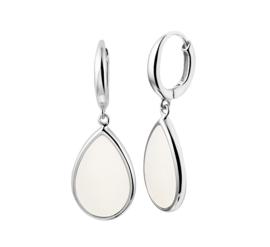 Zilveren klapcreolen met parelmoer druppel