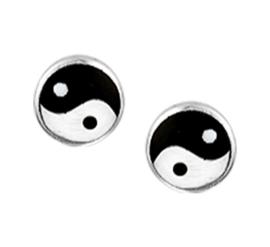 Zilveren oorknoppen yin yang 5 mm