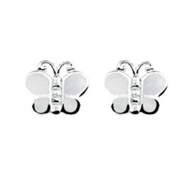 Zilveren kinderoorbellen vlinders wit parelmoer