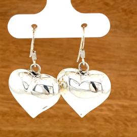Zilveren oorhangers grote harten 20,5 x 22 mm