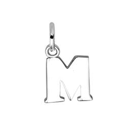 Zilver hanger letter M gerhodineerd