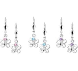 Zilveren kinderoorbellen vlinders hangers