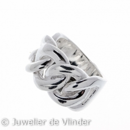 Zilveren ring gourmet breed mt 16,5/17,75/21,5 x 14 mm