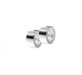 Zilveren klapcreolen vlakke buis 6 mm mat