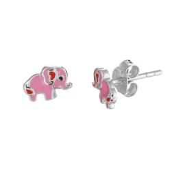 Zilveren oorbellen olifant roze